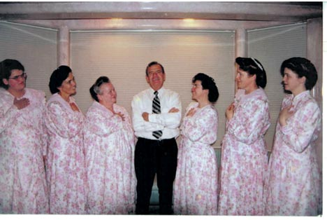 Merril Jessop and his first six wives - Carolyn is on the right